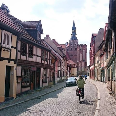 Cycling in these little streets in Tangermünde #tangermuende #littlestreet…