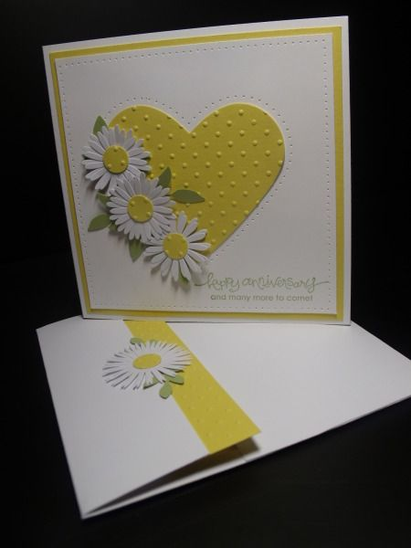 handmade anniversary card: Coming up Daisies! by Inkheart ... yellow and white ... large die cut and embossed heart with three die cut daisies ... matching envelop closure ... bright and clean look ... luv it!!
