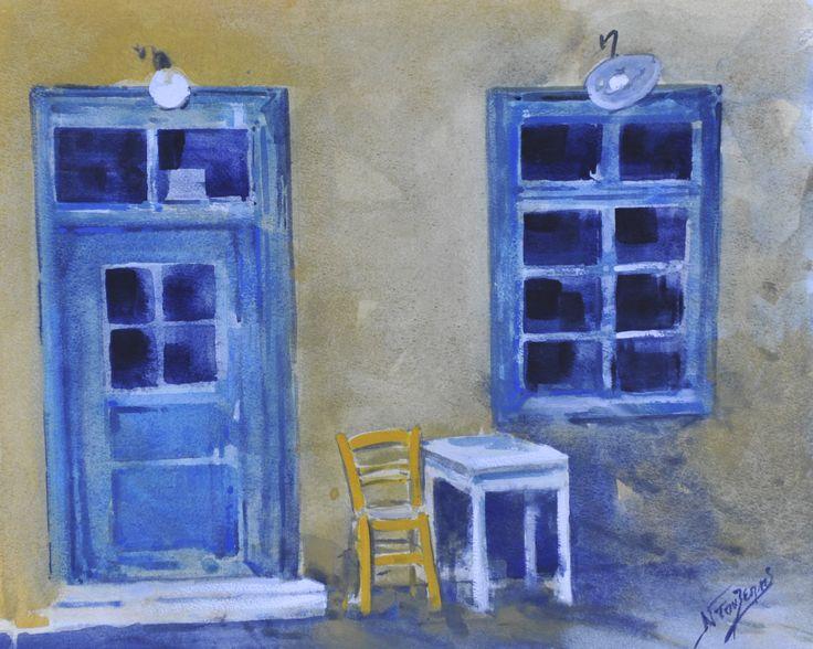 Greek Island Cafe 40x50cm watercolor by Babis Douzepis