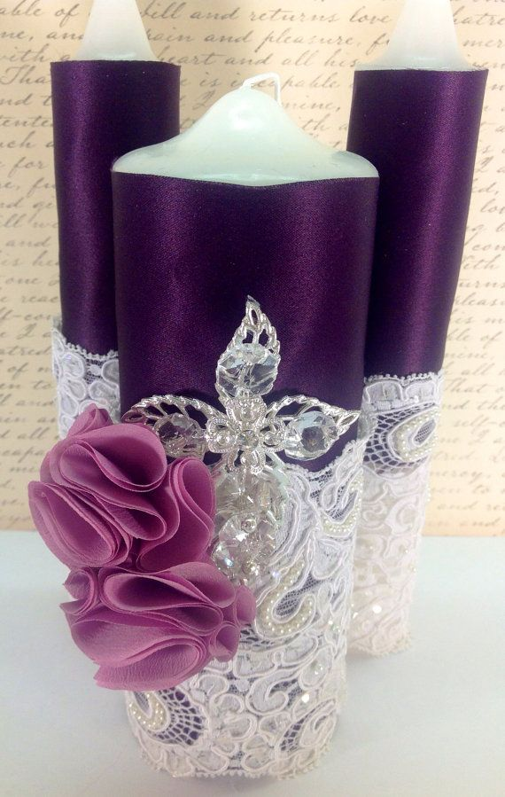 Lace Unity Candle set Purple, Mauve. Crystal, cross, any religion. Wedding Bling Candles