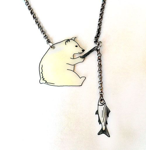 Bear Gone Fishing -- Two Parts -- Pendant Necklace, Shrink Plastic Jewelry --- FREE SHIPPING