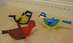 paper plate painted birds chickadee cardinl bluejay Vogels