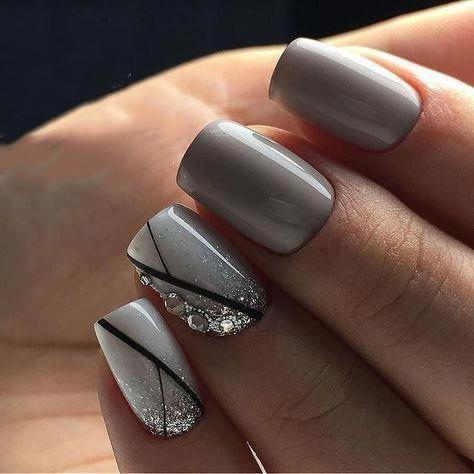 Manicure Geometric Nail Art Ideas ; design de unhas; Геометрия Дизайн ногтей; Дизайн ногтей; geometric nails; Grey nails; manicure; nail shop; nail salon; #nailart