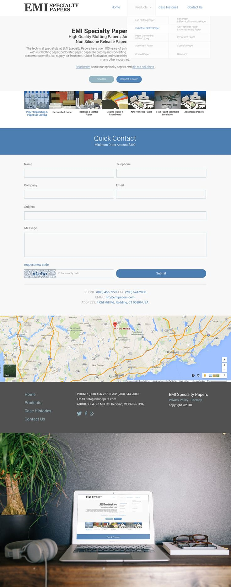 EMI-Specialty Papers website home page redesign