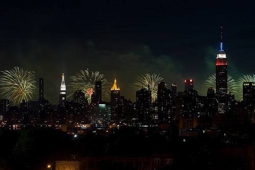 Manhattan watching the fireworks from the 40th floor of Goldman Sachs on the 4th of July with mi familia. Memories :)