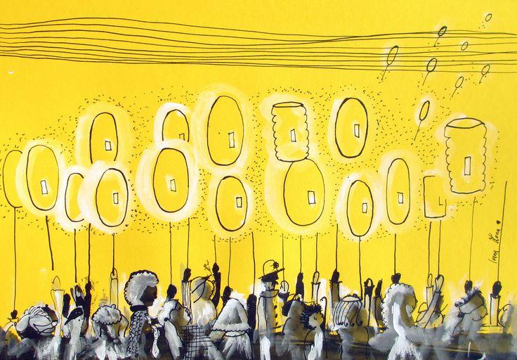 Den+jako+citrón+Původně+to+měl+být+lampionový+průvod.+Lampiony+mně+přijdou+ale+spíš+jako+balonky.Taky+jsem+chtěla+sledovat+něco+hlubšího.+Všichni+si+tvoříme+svůj+den.+Citron+může+být+kyselý,+nebo+krásně+žlutý.+Držíš+si+svůj+lampion+a+ozáříš+někomu+cestu?+Koupíš+si+někdy+balonek?+.......+Perokresba+na+vysokogramážním+papíře+žluté+barvy+24/34cm.+...
