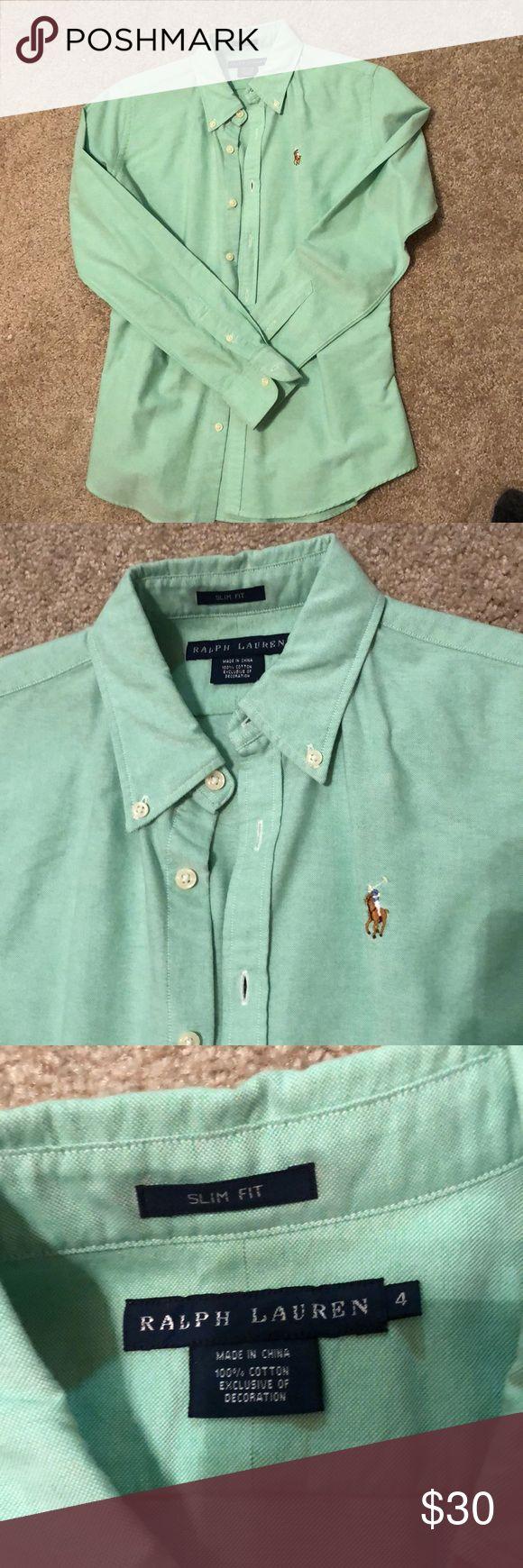 Ralph Lauren slim-fit Oxford Light green Ralph Lauren slim-fit button up Oxford with collar. Size 4. Still in good condition! Has been dry-cleaned Ralph Lauren Tops Button Down Shirts