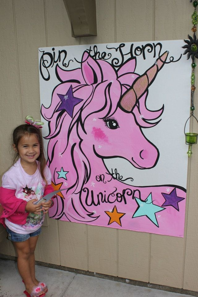 Here I was thinking I'm soooo original! But there are plenty of pins for this game idea!!  Unicorn Party. Pin the horn on the unicorn.