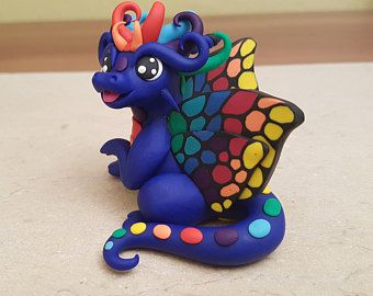 navy blue butterfly dragon figurine, polymer clay dragon sculpture, handmade dragon statue, original gift idea for her, fairy dragon fantasy