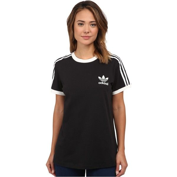 Adidas originals 3 stripes tee women 39 s short sleeve Womens black tee shirt