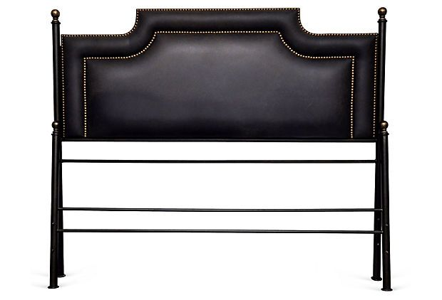 Black Leather Bed with Nailheads