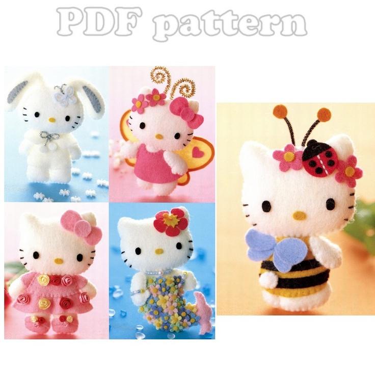 5 Hello Kitty Dressed Up Plush Felt Mascot Pattern PDF