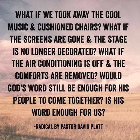"""We are settling for a Christianity that revolves around catering to ourselves when the central message of Christianity is actually about abandoning ourselves"" - David Platt #Radical"
