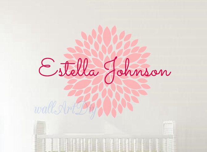 Name wall decals Girl's name wall sticker Nursery name wall mural Pink nursery wall sticker Girl's name decal Dahlia flower name sticker-73 by WallArtDIY on Etsy https://www.etsy.com/uk/listing/233723148/name-wall-decals-girls-name-wall-sticker