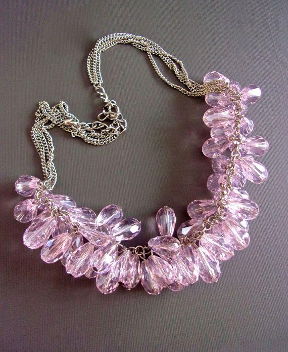 Roze-lavendel kristallen Cluster ketting Cha door RenaissanceFair