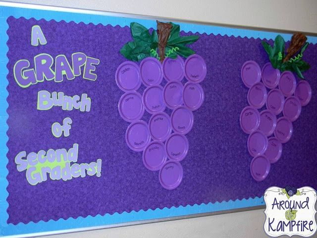A Grape Bunch of...Back to school bulletin board. Take a pic of each student and glue it on their paper plate grape!