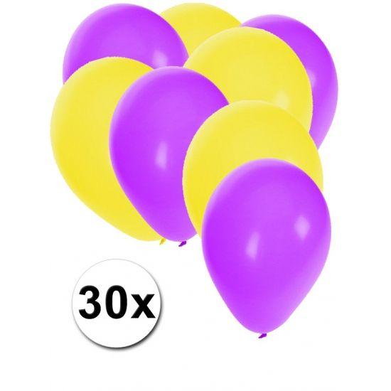 Paarse en gele ballonnen 30 stuks  30 stuks ballonnen in de kleuren paars en geel. Van elke kleur 15 ballonnen leuk voor verjaardagen en themafeesten. Formaat is ongeveer 27 cm. Goede kwaliteit.  Dit artikel bestaat uit: 1x Gele ballonnen 15 stuks 1x Paarse ballonnen 15 stuks  EUR 2.99  Meer informatie