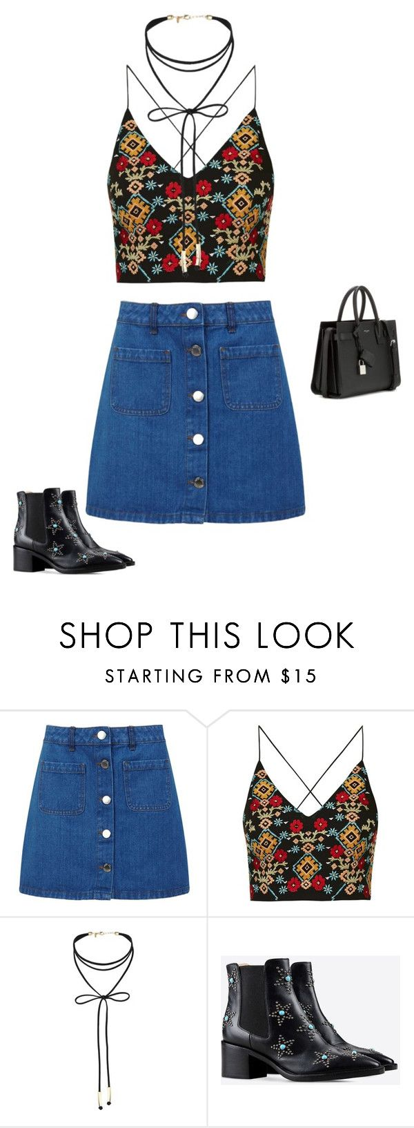"""Untitled #1884"" by quaybrooks on Polyvore featuring Miss Selfridge, Topshop, Valentino and Yves Saint Laurent"