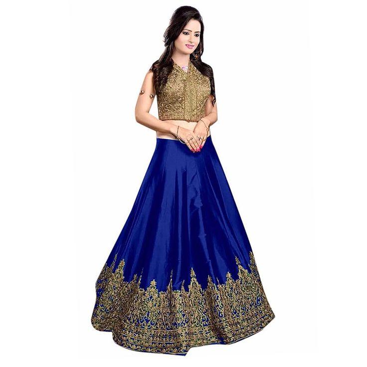 Poly Silk Zari Work Blue Semi Stitched Lehenga - S6147A at Rs 1349