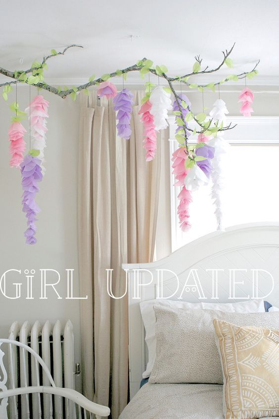 Wisteria tissue paper flower garland branch decor  for wedding, nursery, display, party or bedroom!! by GirlUpdated on Etsy https://www.etsy.com/listing/225130693/wisteria-tissue-paper-flower-garland: