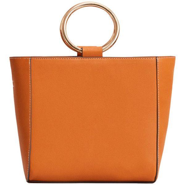 MANGO Metallic handle tote bag ($60) ❤ liked on Polyvore featuring bags, handbags, tote bags, purses, long strap purse, metallic handbags, orange tote, orange purse and handbag purse