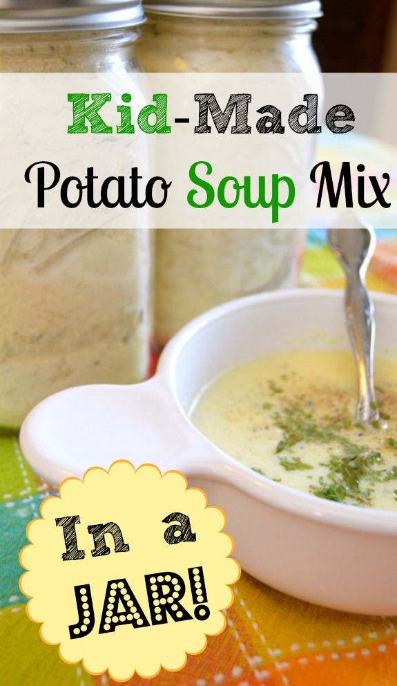 Kid project! This potato soup mix is an easy homemade gift the kids can make, and it is very tasty.  What a great time-saver to have it pre-made in jars!