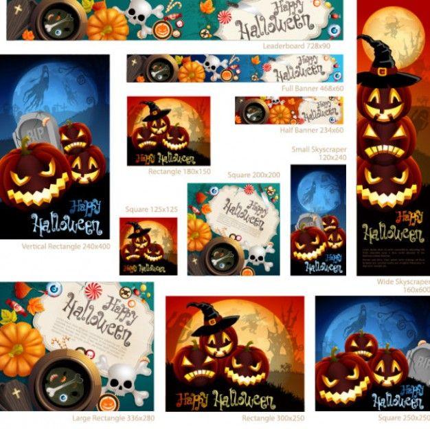 Halloween Web Banners Vector Set