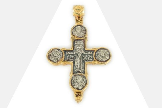 925. Sterling Silver / Gold Plated Jesus Cross Holy Wood