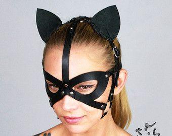 Lederen masker kat voor vrouw Kitten masker BDSM Item door IsyMo