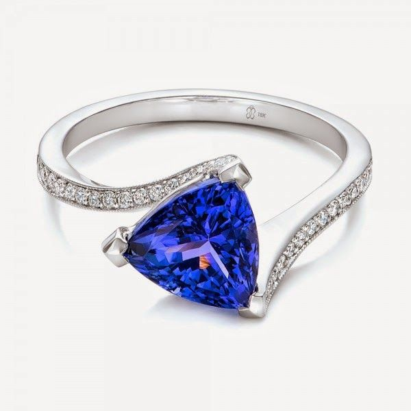 Trillion Tanzanite Engagement Ring