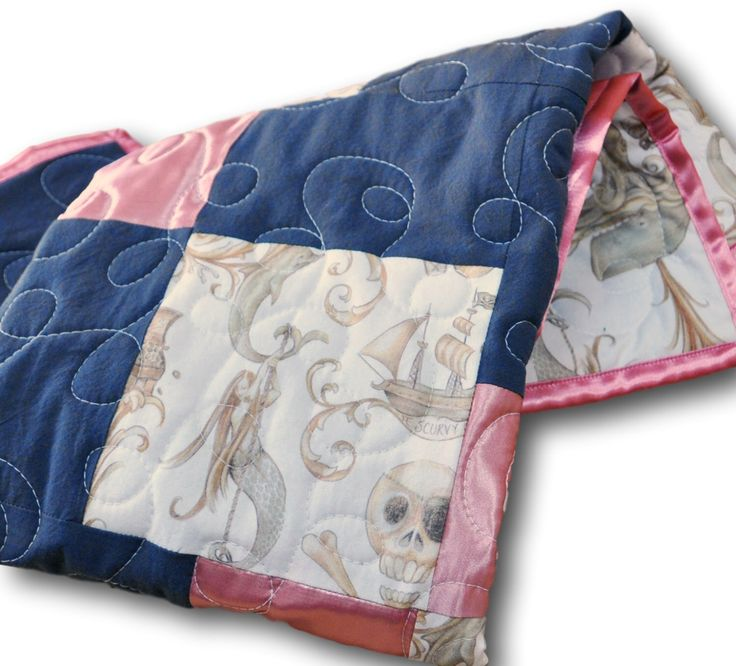READY TO SHIP: Mermaid Quilt, Pirate Quilt, Mermaid Baby, Baby Girl Quilt, Pink Gray Satin, Mermaid Nursery, Pirate Nursery, Girl Pirate by OutOfCharacterQuilts on Etsy https://www.etsy.com/listing/269283249/ready-to-ship-mermaid-quilt-pirate-quilt