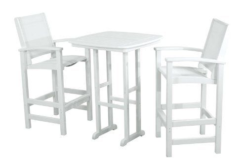 Polywood PWS156-1-WH901 Coastal 3-Piece Bar Set in White / White Sling by POLYWOOD®. $1274.07. Eco-friendly production with over 90% recycled materials. Made in the USA. Set includes two 9012 Coastal Bar Chairs and one NCBT31Nautical 31in Bar Table. Commercial grade stainless steel hardware. POLYWOOD® frames available in 4 attractive- fade-resistant colors. Coastal 3-Piece Bar Set in White / White Sling