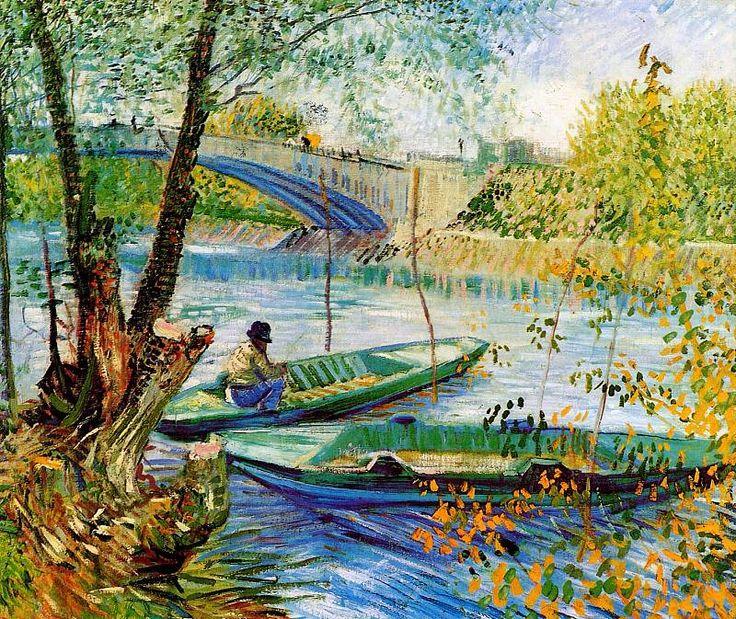 Gogh van Vincent Fisher and boats at Pont de Clichy Sun. Винсент ван Гог . Описание картины, скачать репродукцию.