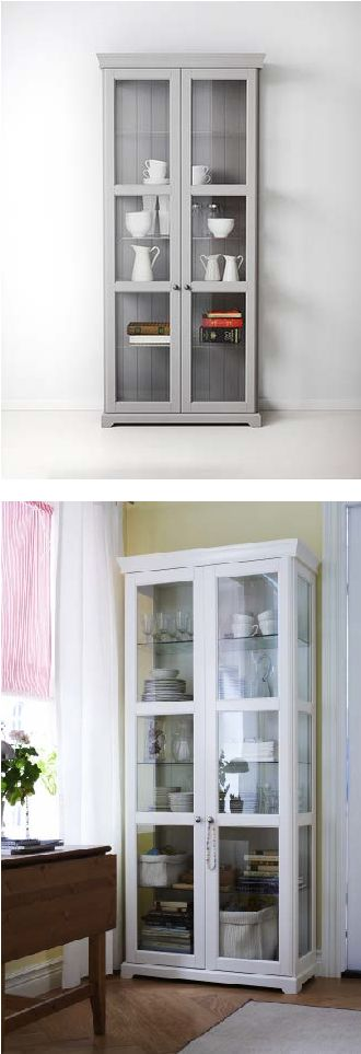 LIATORP's tempered glass doors keep your favorites free from dust, but still in full view.  There are three adjustable glass shelves, to suit your storage needs.
