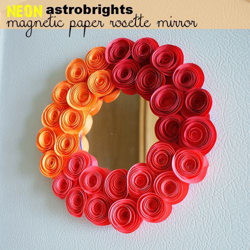 Video Tutorial AstroBrights Paper Rosette Magnetic Locker Mirror With Spiral Rose Template at savedbylovecreations.com #goastrobrights