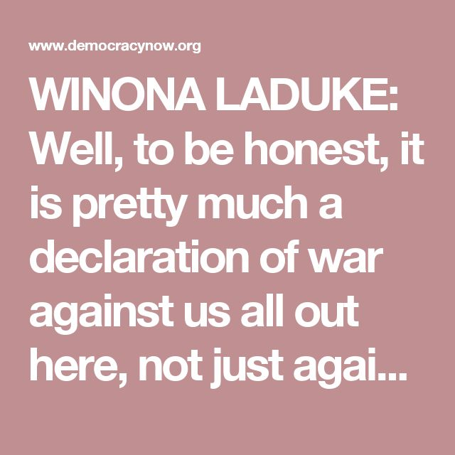 """SHOCK ACCOMPANYING SUGGESTION? -WINONA LADUKE: """"Well, to be honest, it is pretty much a DECLARATION OF WAR against us all out here, not just against Native people, but against anybody who wants to drink. And across the board, what the guy is doing looks like that to us—the predator-in-chief.. And he definitely wants to shove those pipelines down our throats, whether we're out here in North Dakota or, you know, wherever we are. That's what his intention is."""" [DIDN'T MILITARY TRY TO PROVOKE A…"""