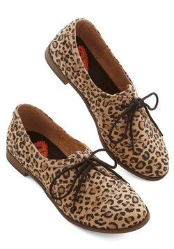Readily Reliable Flat in Leopard. Leave it to you to take a classic shoe - like this pair of leopard-spotted Oxfords - and turn it absolutely chic with every wear! #tan #modcloth