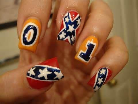 Rebel flag/Dukes of Hazzard country girl nail art. I love these!!