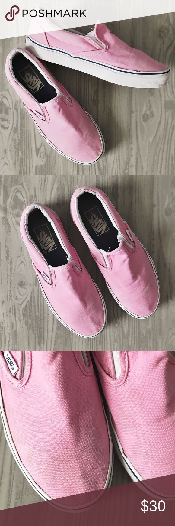 Pink Slip-On Vans Gently used & so cute! Size 7.5. Has a few faint marks on the fabric of the shoes (shown in the third photo,) that could easily be washed out. Bundle for a discount ✨ Vans Shoes Flats & Loafers