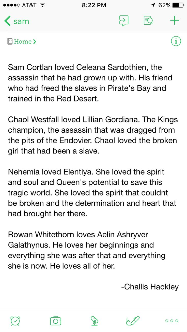 Sam Cortlan loved Celeana Sardothien, the assassin that he had grown up with. His friend who had freed the slaves in Pirate's Bay and trained in the Red Desert.  Chaol Westfall loved Lillian Gordiana. The Kings champion, the assassin that was dragged from the pits of the Endovier. Chaol loved the broken girl that had been a slave.  Nehemiah loved Elentiya. She loved the spirt and soul and the Queen's potential to save this tragic world. She loved the spirit that couldn't be b... -Challis…