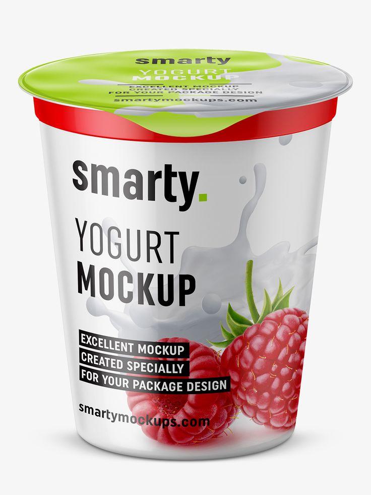 Yogurt mockup / top view