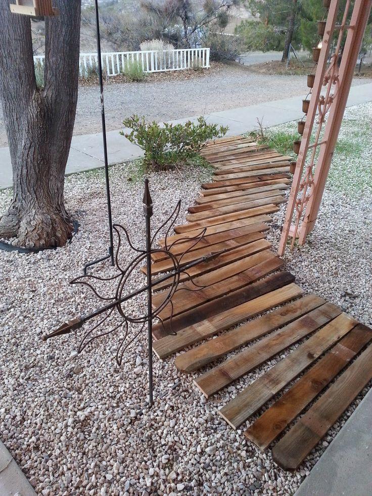 Plank walkway diy craft pinterest walkways yards for Wooden walkway plans