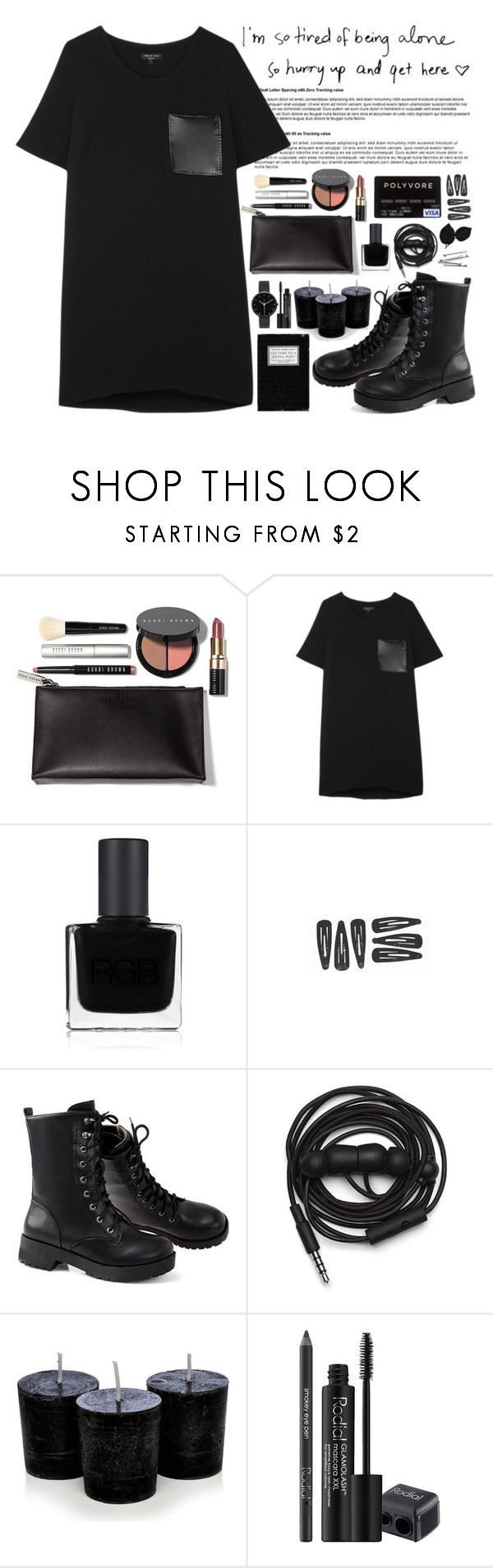 """""""tired of beeing alone"""" by nellylein ❤ liked on Polyvore featuring Bobbi Brown Cosmetics, rag & bone, RGB Cosmetics, Urbanears, Rodial, BOBBY and I Love Ugly"""