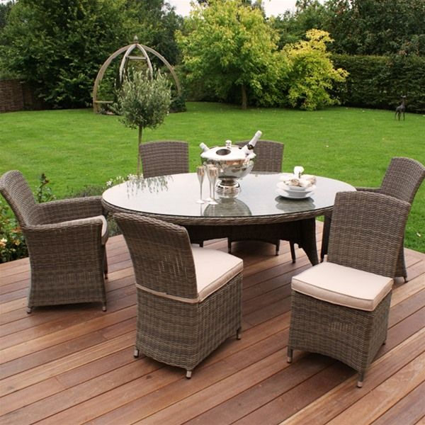maze rattan winchester oval 6 seat garden furniture set