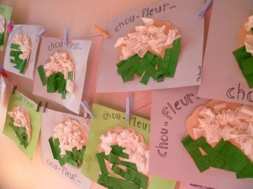 Project vegetables: Cauliflower in crepe paper