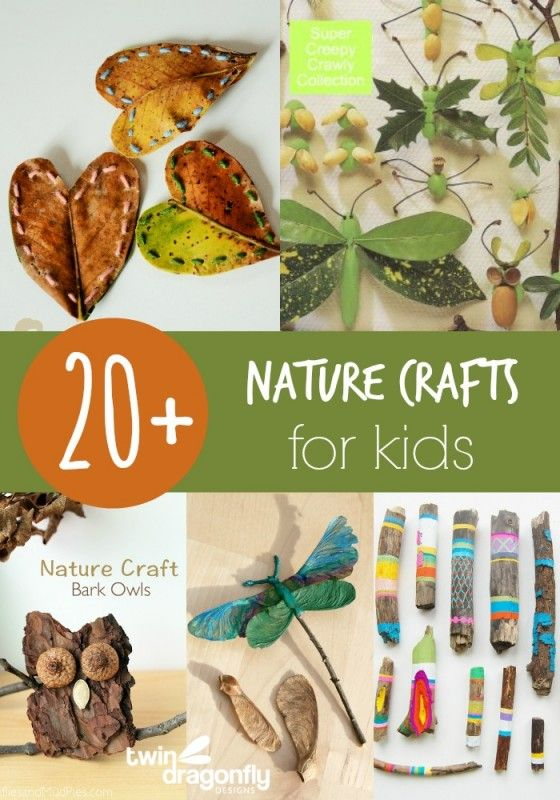 "Few ideas to make something after you have a ""Scavenger Hunt"" nature walk! -- 20+ Nature Crafts for Kids"