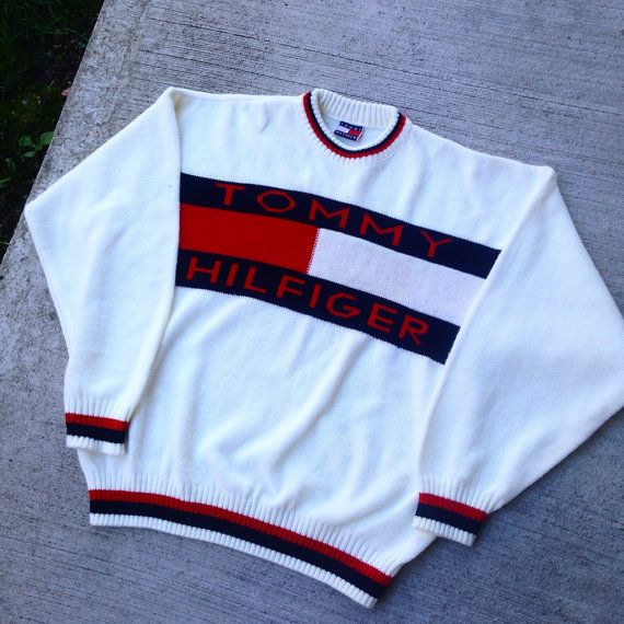 Vintage 90 S Tommy Hilfiger Knit Sweater Big Logo Small