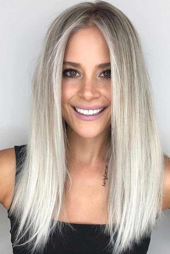 Włosy Siwe Białe Fryzury Shoulder Hair Hair Styles