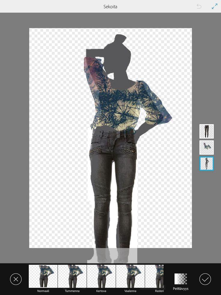 4.  Voit lisätä tasoille lisää vaatteita ja myös taustan. Tee samoin kuin kohdissa 1-3