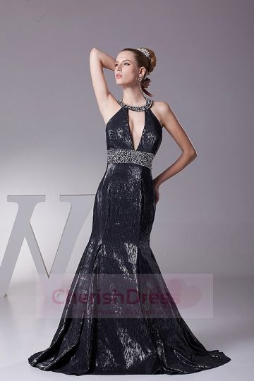 Halter Mermaid/Trumpet Sweep/Brush Train Dress with Beading